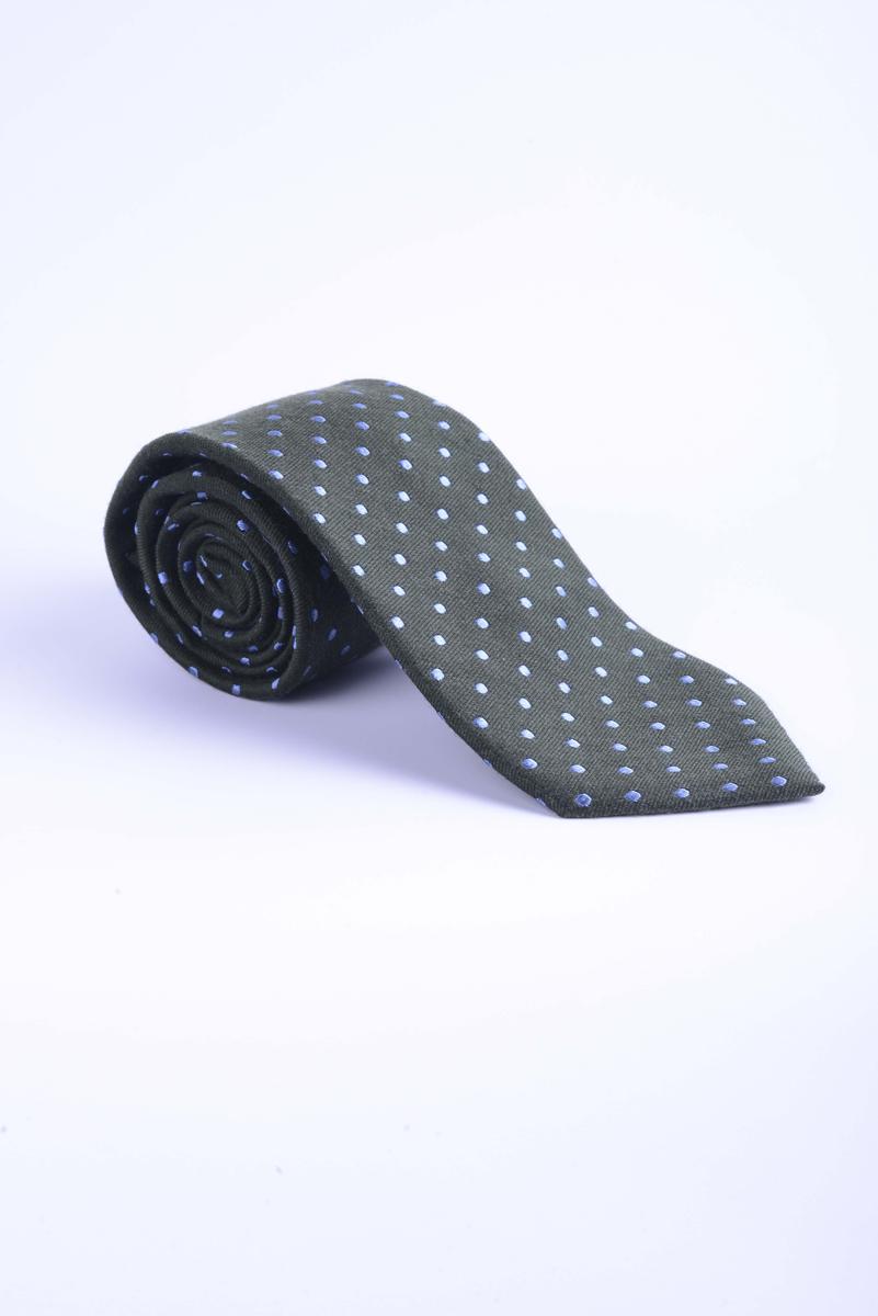 Corbata de lana de topos verde